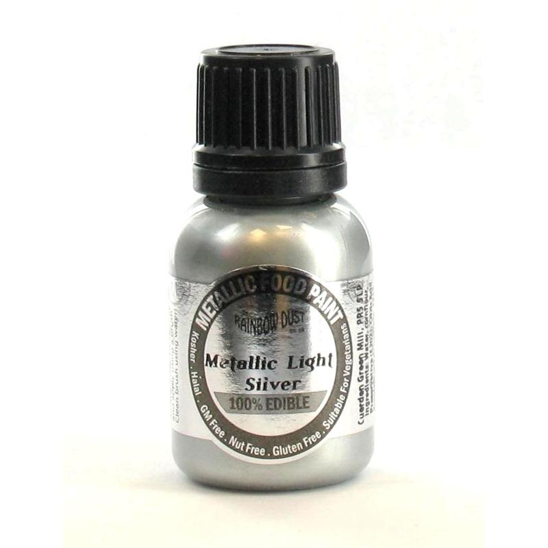 Rainbow Dust Edible Metallic Silver Food Paint 25 ml