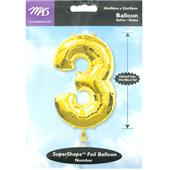 Extra Large Gold 3 Helium Foil Balloon