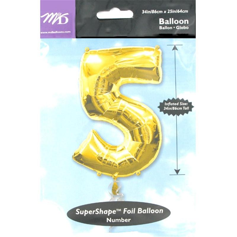 Extra Large Gold 5 Helium Foil Balloon