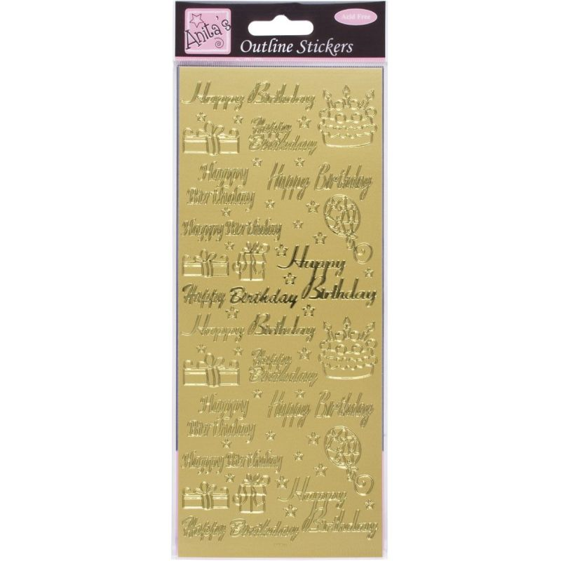 Anita's Gold Happy Birthday Outline Stickers