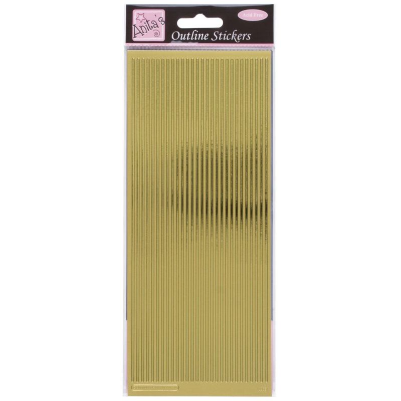 Anita's Gold Straight Line Border Outline Stickers