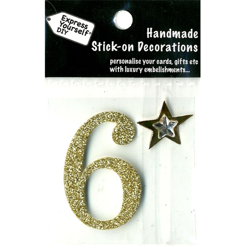 Express Yourself DIY Handmade Number 6 Stick On Decoration In Gold