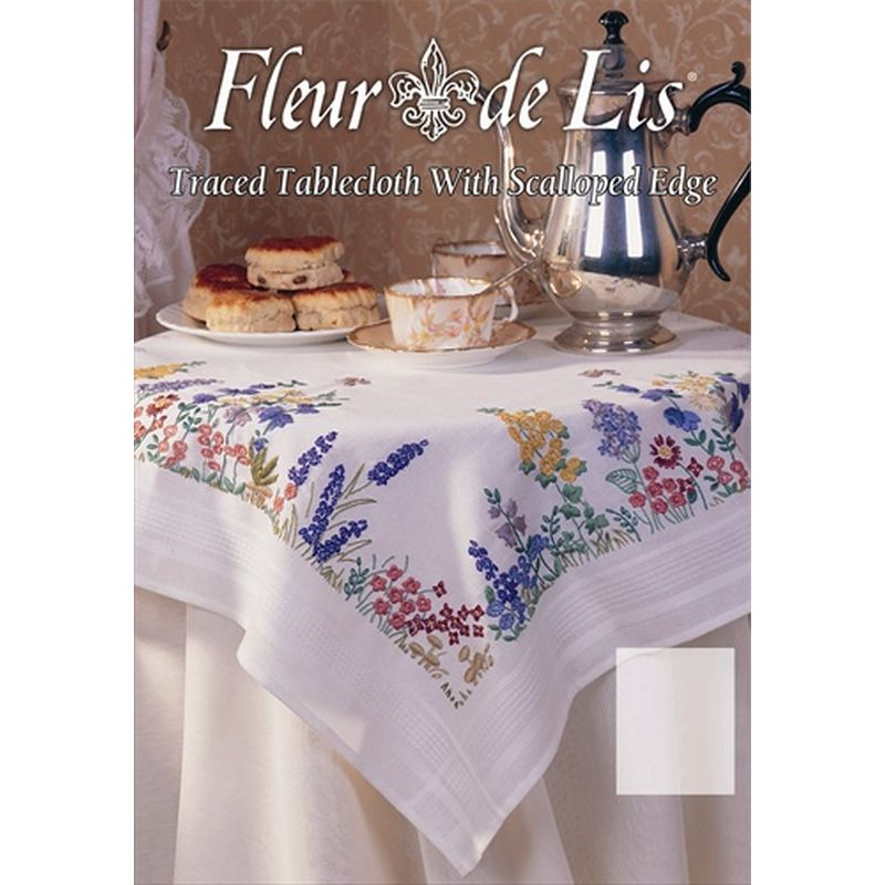 Anchor Fleur De Lis Spring Flower Traced Tablecloth Embroidery Kit