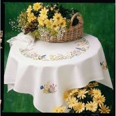 Anchor Fleur De Lis Spring Garland Traced Tablecloth Embroidery Kit