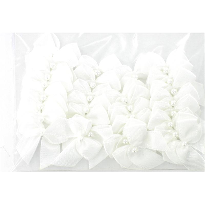 White Pearl Ribbon Bows 30 Pack