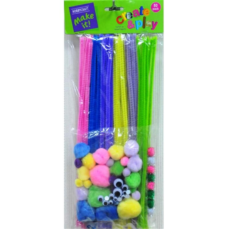 Pastels Pipe Cleaners and Poms Craft Pack 80 Pieces