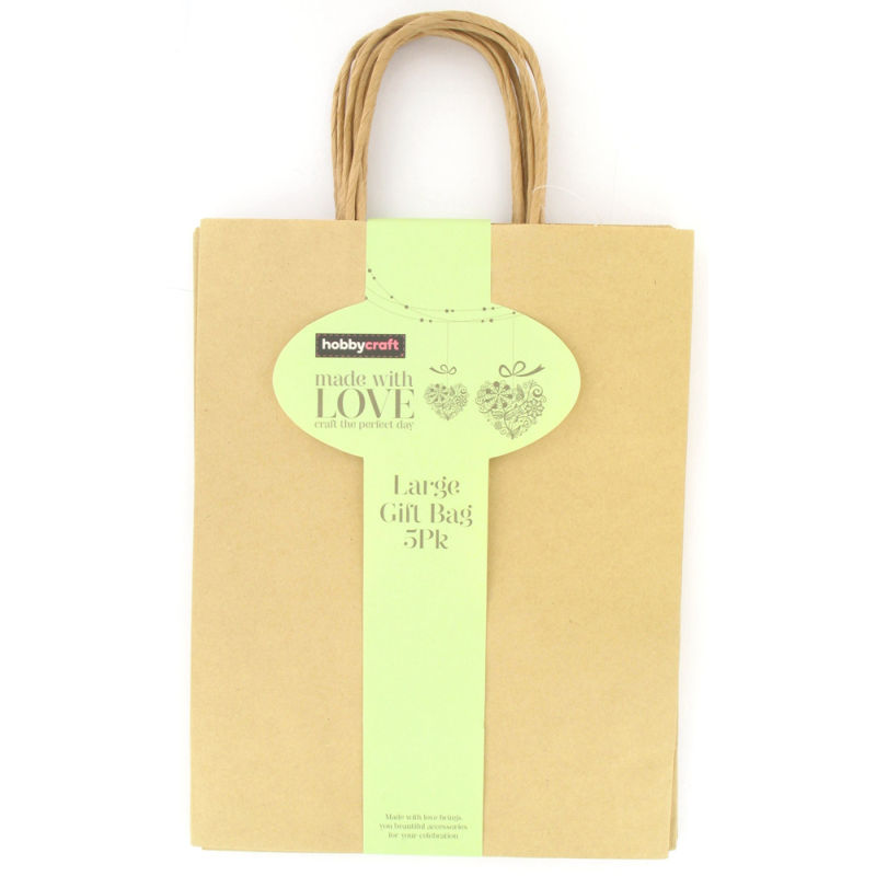 Kraft Gift Bag 20 cm 5 Pack