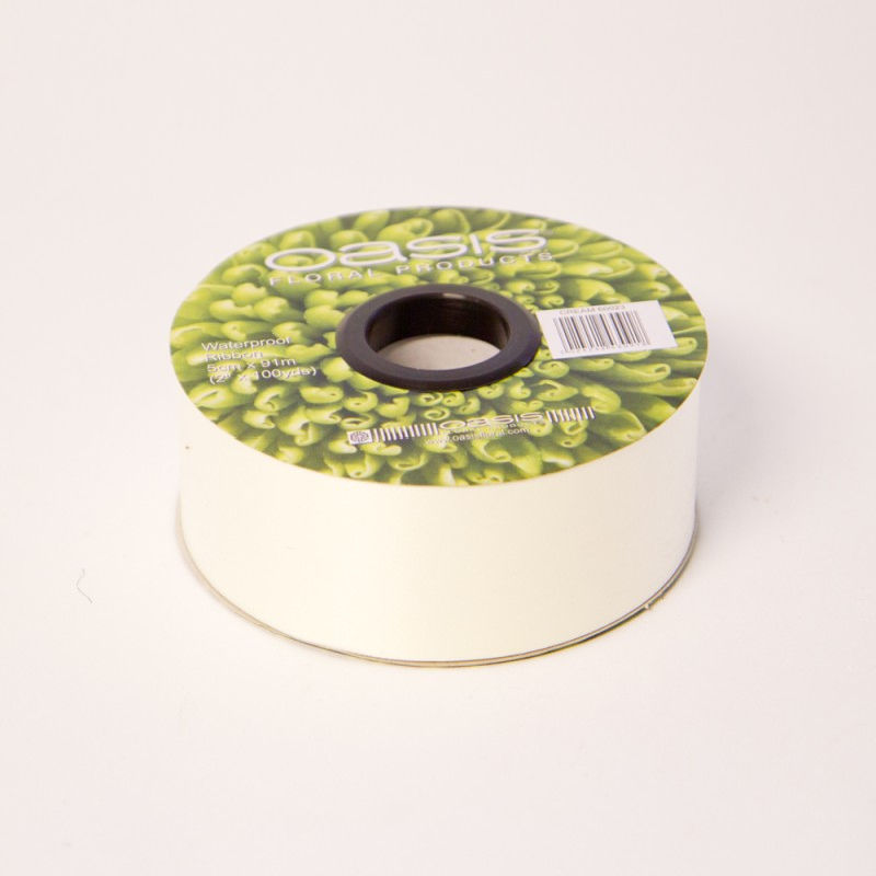 Oasis Cream Poly Ribbon 5 cm x 91 m