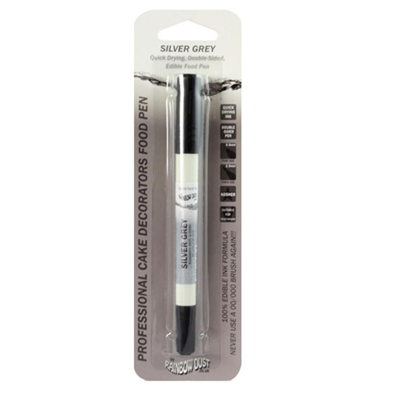 Rainbow Dust Silver Grey Double-Ended Edible Food Pen