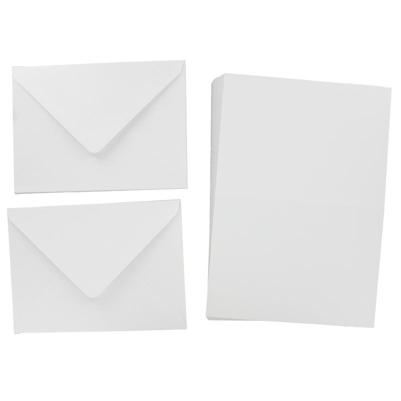 White Cards and Envelopes 5 x 7 Inches 50 Pack