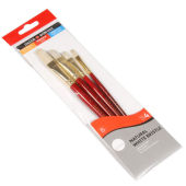 Daler Rowney White Bristle Short Handle Brushes 4 Pack Brown