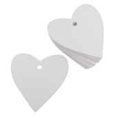White Heart Tags 7 cm 30 Pack