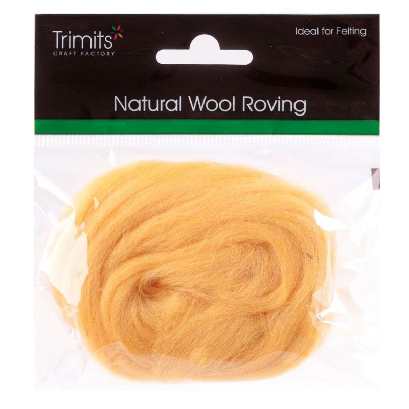 Trimits Crafting Yellow Natural Wool Roving 10 g