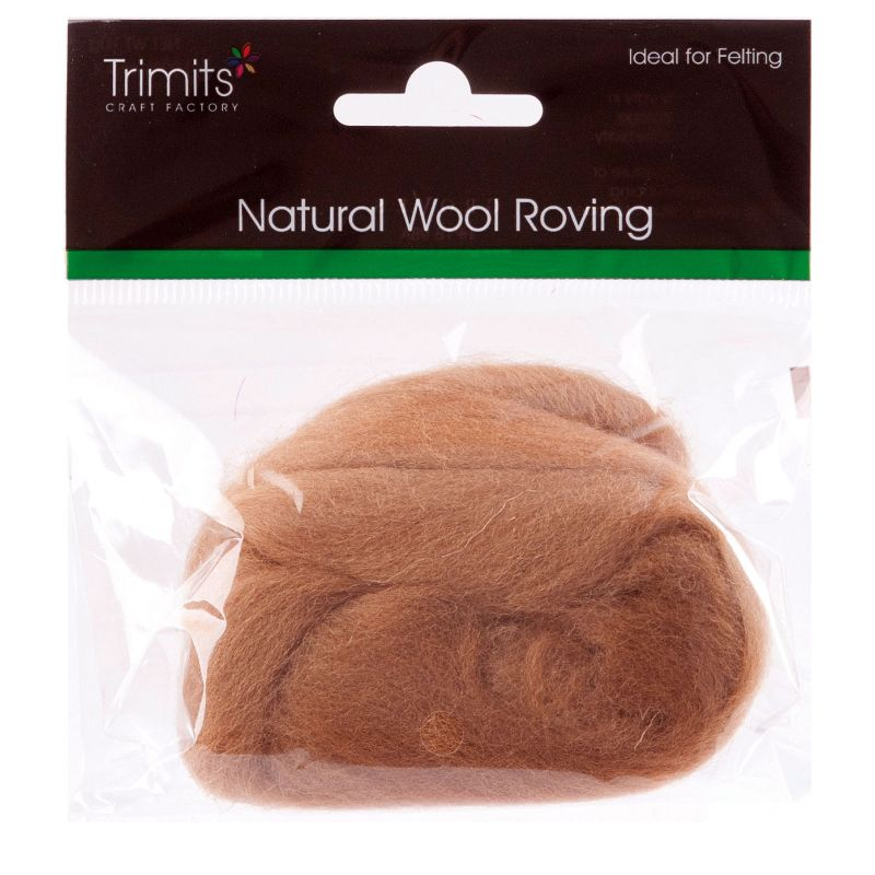 Trimits Crafting Natural Wool Roving Coffee