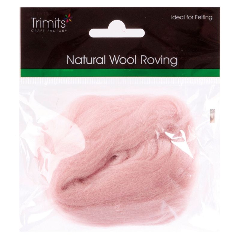 Trimits Crafting Natural Wool Roving Powder Pink