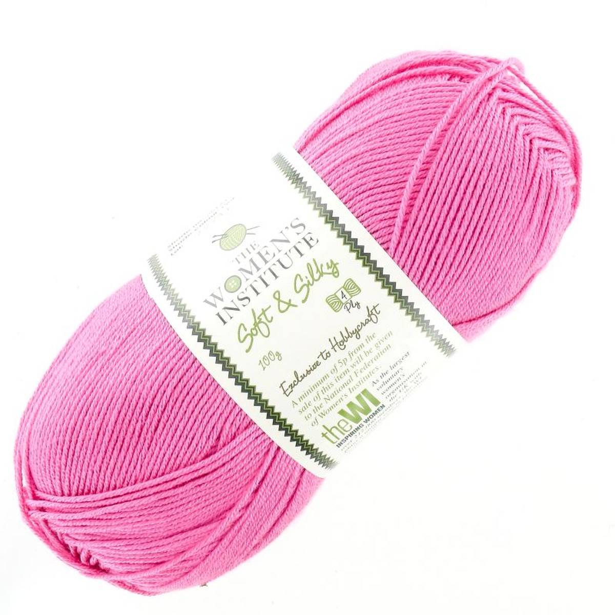 Womens Institute Pink Soft and Silky Yarn 100 g