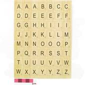 Wood Effect Alphabet Letter Tile Stickers 2 Sheets