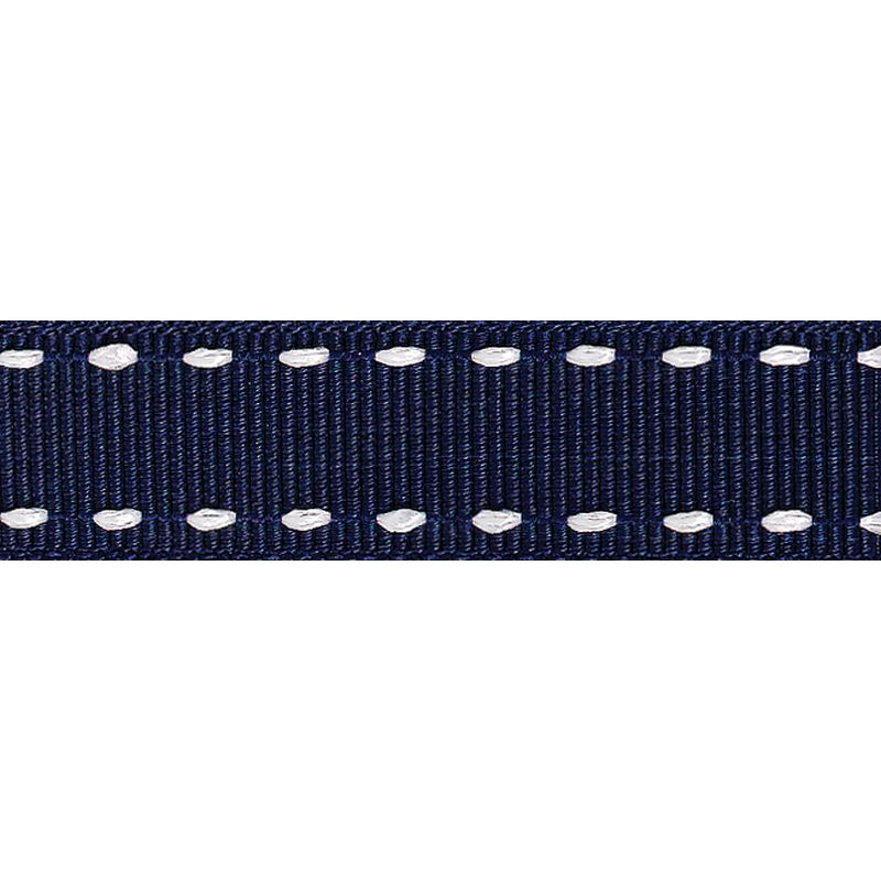 Navy Blue Running Stitch Grosgrain Ribbon 15 mm x 4 m
