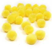 Yellow Pom Poms 2 cm 25 Pack