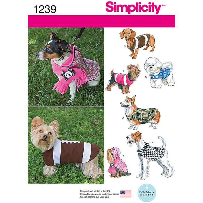 Simplicity Dog Coat Pattern 1239