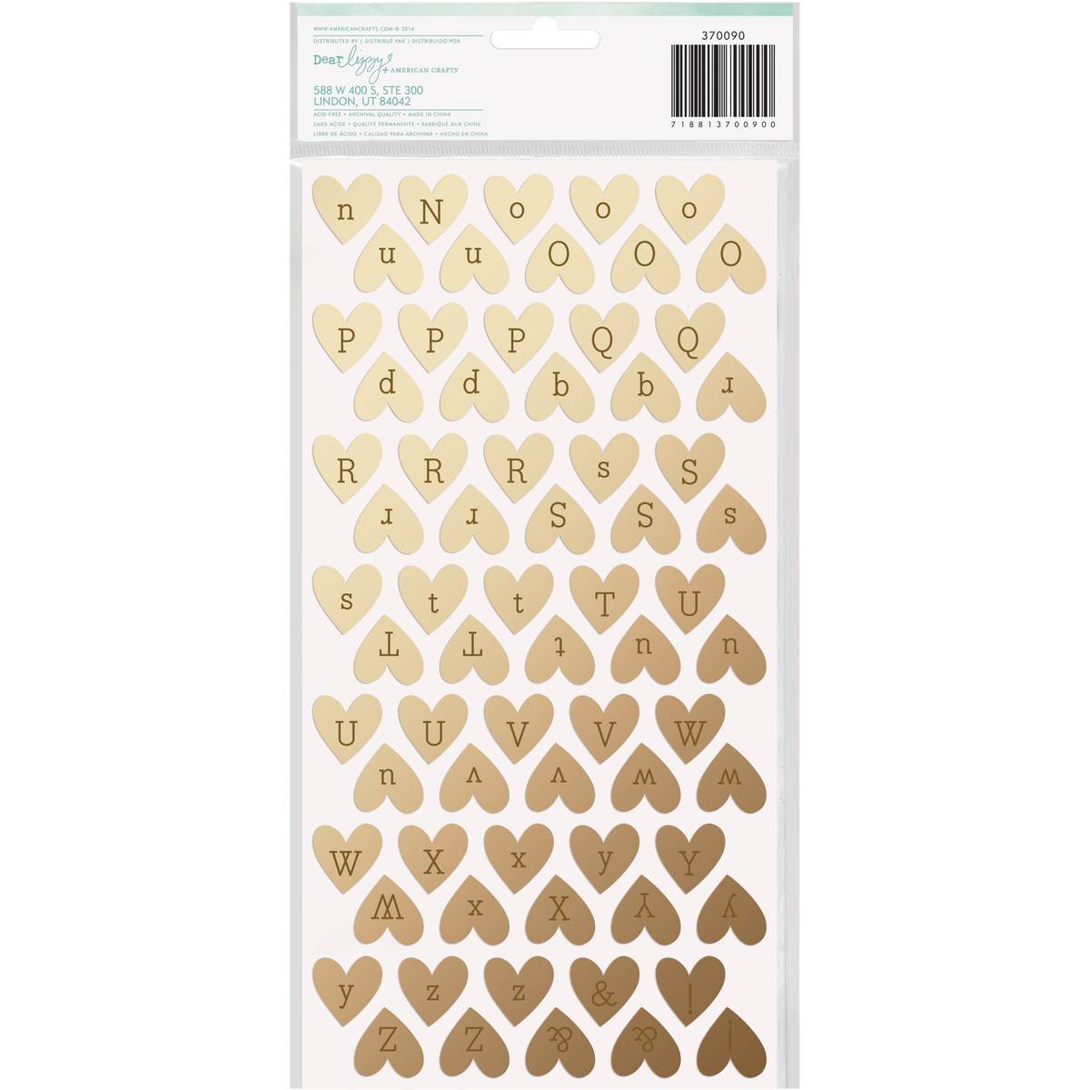 Dear Lizzy Fine and Dandy Sparkling Gold Foil Alpha Heart Thickers