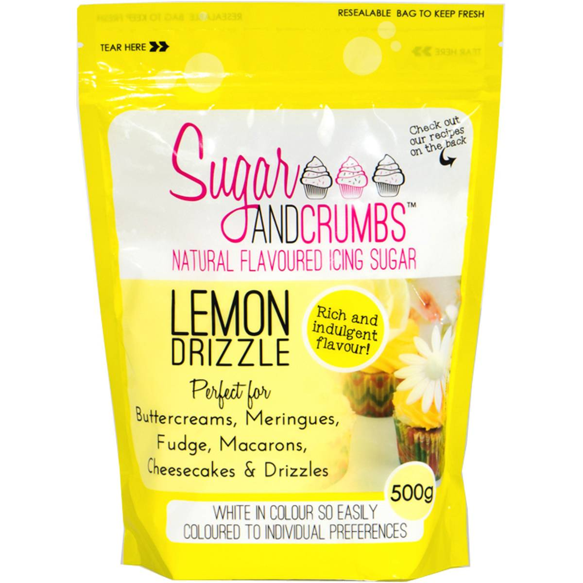 Sugar and Crumbs Lemon Drizzle Natural Flavoured Icing Sugar 500 g